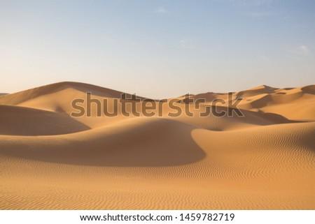 Beautiful landscape in desert Liwa. Amazing dune Moreeb in United Arab Emirates. Golden waves of sand. Nature  safari panorama. Travel view.  #1459782719