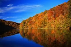 Beautiful landscape in Plitvice National Park, Croatia in autumn