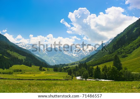 Beautiful landscape in the Alps in Nationalpark Hohe Tauern, Salzburger Land, Austria