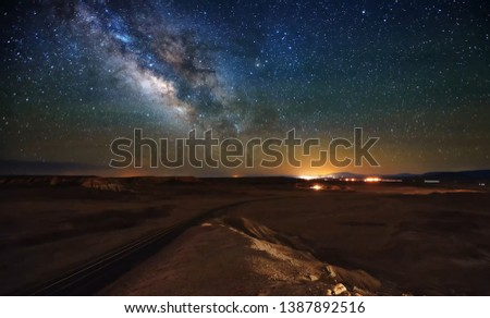 beautiful landscape in the forest with starry sky, night forest, starry sky #1387892516