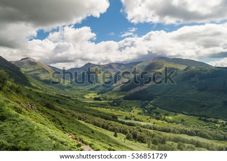 Beautiful landscape in the highlands from the summit of Ben Nevis mount, Scotland #536851729