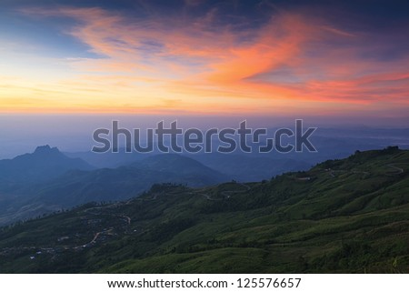 Beautiful landscape in the mountains. Sunrise