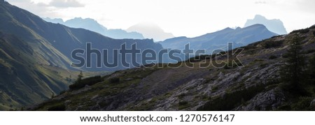 Beautiful landscape in the passo Fedaia, near the Dolomites mount Marmolada #1270576147