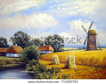 Beautiful landscape. Mill, wheat field, village. Oil paintings. Fine art, paint.