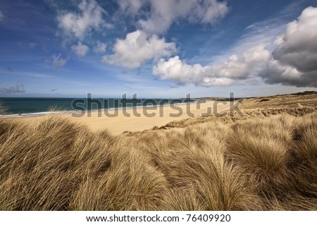 Beautiful landscape of a beach in cornwall england