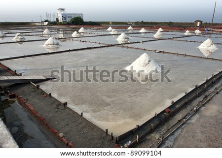 beautiful landscape of a summer with a salt farm in Tainan