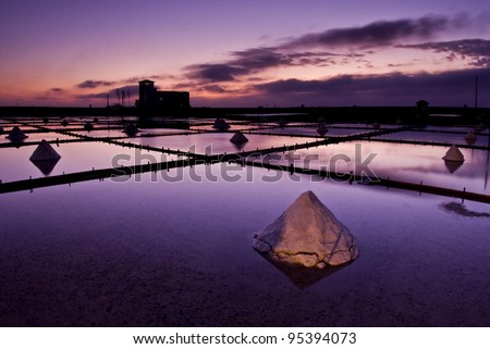 Beautiful landscape of a summer with a salt farm in Tainan, Taiwan