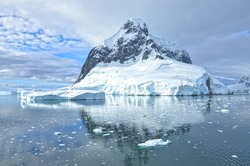 Beautiful landscape of Antarctica  with many glaciers and icebergs.