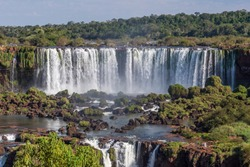 Beautiful landscape of big waterfalls in Iguazu Falls, Foz do Iguacu, Parana State, South Brazil
