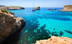 Beautiful landscape of Blue Lagoon of Malta