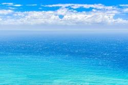 Beautiful Landscape of Blue Sea or Ocean in Summer in Oahu Island in Hawaii in America, Waikiki, Tropical Image, Nobody