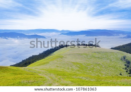 Beautiful landscape of Carpathian Mountain ridges, Ukraine