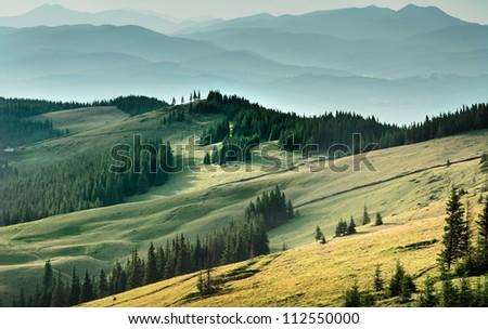 beautiful landscape of Carpathian Mountains. sunset / sunrise