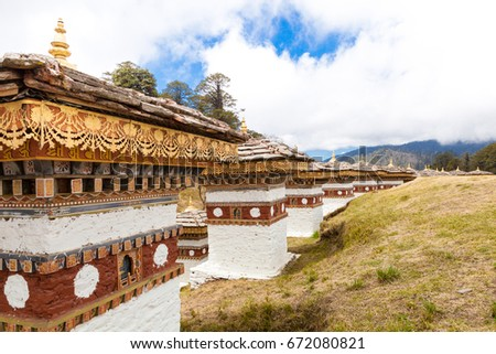 Beautiful landscape of 108 chortens(monuments to the distinguished Buddhist) at Dochula pass in Bhutan