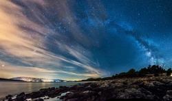 Beautiful landscape of Croatia, Croatia coast, sea and mountains. Milky Way panorama.