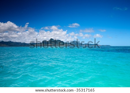 Beautiful landscape of eastern Mauritius from ocean