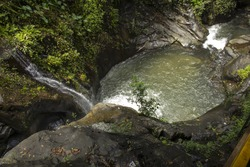 Beautiful landscape of flowing water from mountain stream kerala india