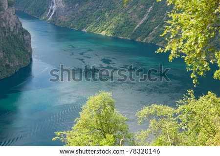 Beautiful landscape of Geiranger fjord from Dalsnibaa, Norway, Scandinavia