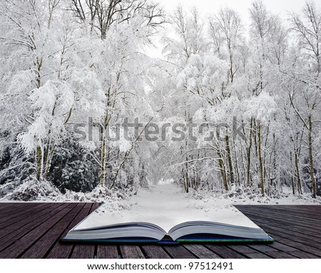 Beautiful landscape of glistening frost and snow covered trees coming out of pages in magic book