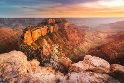 Beautiful landscape of Grand Canyon National Park - North Rim, Arizona, USA. Beautiful sunset at Grand Canyon National Park in summer. Cape Royal.