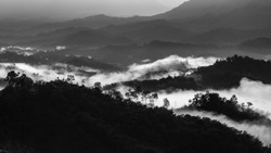 Beautiful Landscape of misty foggy on  mountain hills in Black and White Editing