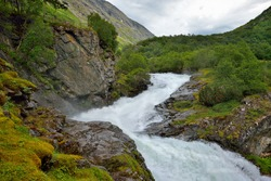 Beautiful landscape of Norway,wild river, Scandinavia