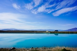 Beautiful landscape of Pukaki Canal Twizel New Zealand
