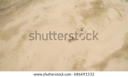 Beautiful landscape of sandy desert aerial photography #686691532