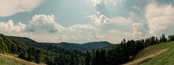 Beautiful landscape of south Poland - Beskid Sadecki Mountains