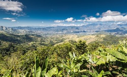 beautiful landscape of the caribbean mountains in the dominican republic looking down on th town of Ocoa,