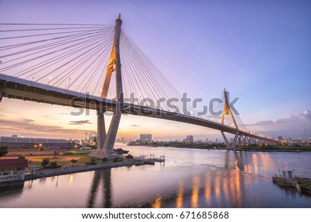 Beautiful landscape of the city at sunset in Bangkok,Thailand #671685868