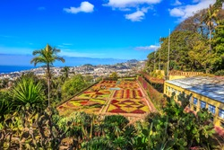 Beautiful landscape of the famous botanical conservatory garden in Funchal, Madeira island, Portugal