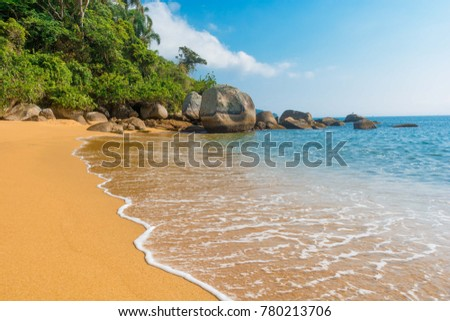 beautiful landscape of the famous palmas beach, in ilha grande, rio de janeiro, brazil. ahowing the sea and the waves crushing showing the famous place