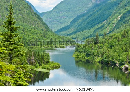 Beautiful landscape of the Malbaie River in the Hautes-Gorges-de-la-Rivière-Malbaie national park - Canada