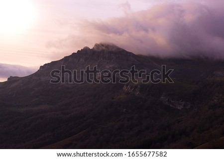 beautiful landscape of the mountains in Spain at the sunrise.Purple sunrise
