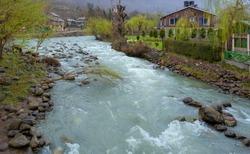 Beautiful landscape of the natural Liddar or Lidder river stream from the Himalayas mountain passing Laripora village Pahalgam is a popular tourist destination Kashmir,India
