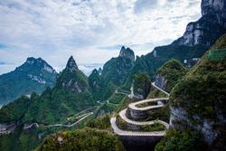 Beautiful landscape of Tianmen mountain national park, Hunan province, Zhangjiajie The Heaven Gate of Tianmen Shan, mountain in china