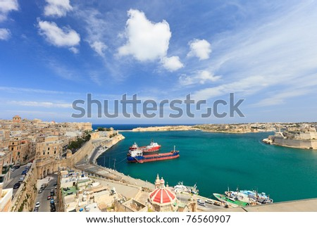 Beautiful landscape of Valletta Malta harbor and seafront