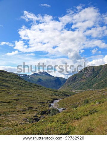 Beautiful landscape of valley situated deep in norwegian mountains.