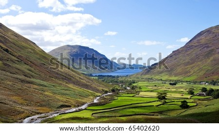 Beautiful landscape of Wasdale head in the Lake district area in England - stock photo
