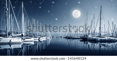 Beautiful landscape of yacht harbor at night, full moon, marina in bright moonlight, luxury water transport in nighttime, vacation concept  #145648124