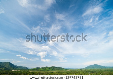 Beautiful landscape on mountain with nice sky #129763781
