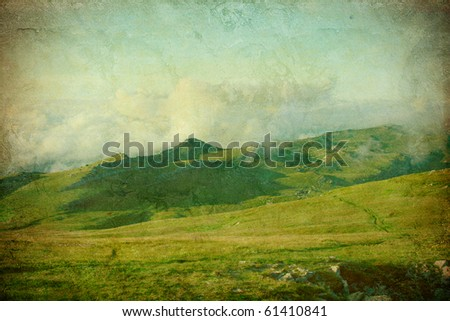 beautiful landscape on the grunge background