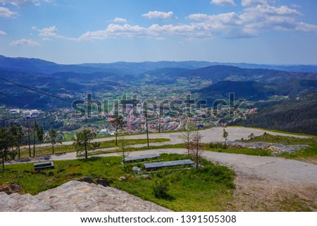 Beautiful landscape over Arouca city from the top of the mountains on sunny day at Portugal