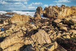 Beautiful landscape, picturesque coast of Monterey, view of the Kissing Rock, Pacific Grove Monterey, California, USA.