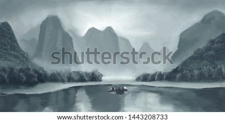 Beautiful landscape scenery natural scenery illustration #1443208733