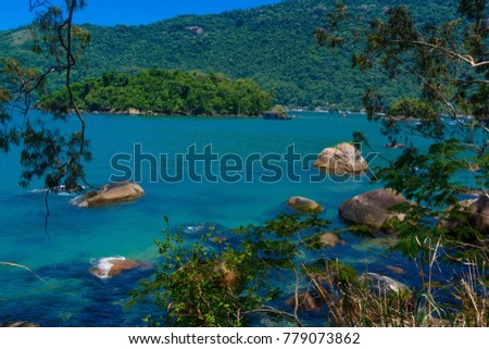beautiful landscape showing rocks in a blue water beach in ilha grande, rio de janeiro, brazil. rocks are inside the water and covered by trees. travel concept