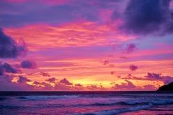 Beautiful landscape. Sunset on the sea shore.