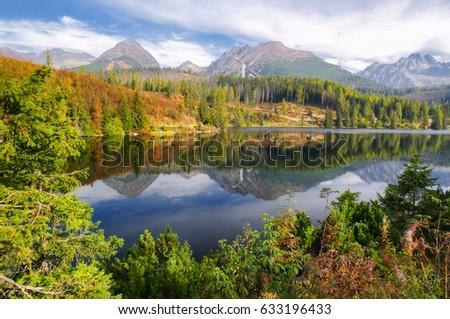 Beautiful landscape - tarn Strbske pleso in High Tatras mountains, Slovakia #633196433
