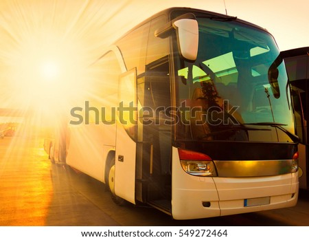 beautiful landscape tourist bus travel transport background
